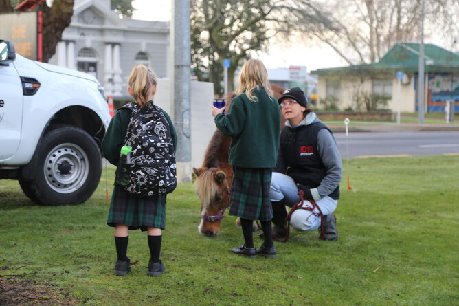 Libby Bublitz and Caramello meets come local children on their way to school - Photo: Picket Fence