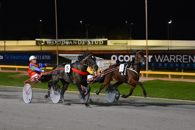 Keystone Cavalier (inside) on his way to recording his maiden win at the Cambridge Raceway on Thursday night. - Chanelle Lawson Photography