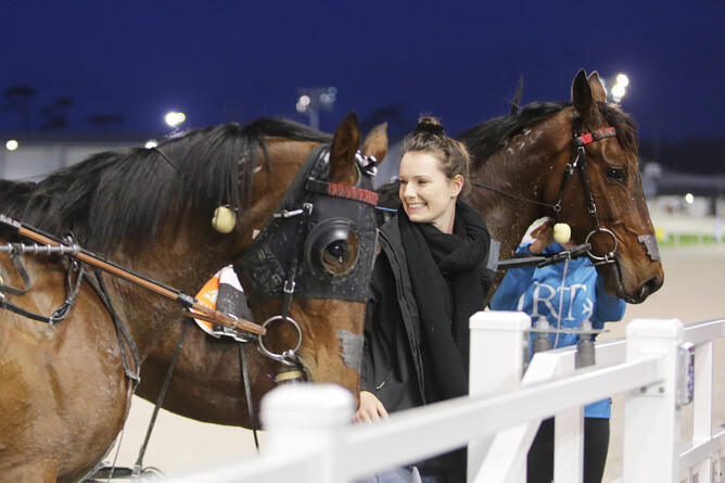 Pembrook Charlie and Bettor Sensation pictured with Marshall's partner Georgia Norton - Trish Dunell